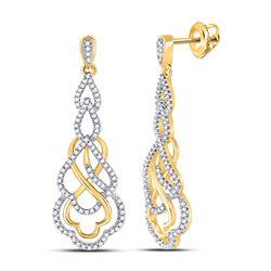 Womens Round Diamond Interwoven Dangle Earrings 1/2 Cttw 10kt Yellow Gold - REF-32X5A