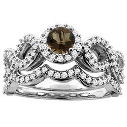 1.06 CTW Quartz & Diamond Ring 14K White Gold - REF-93X3M