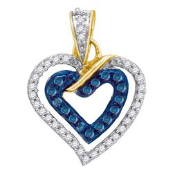 Womens Round Blue Color Enhanced Diamond Heart Pendant 1/4 Cttw 10kt Yellow Gold - REF-12Y9N