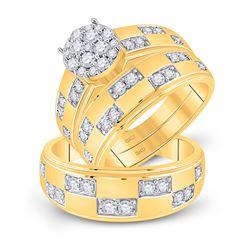 His Hers Round Diamond Cluster Matching Wedding Set 1 Cttw 14kt Yellow Gold - REF-98R5X
