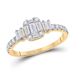 Womens Baguette Diamond Cluster Ring 5/8 Cttw 14kt Yellow Gold - REF-52A9M