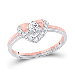 Heart Diamond Bridal Wedding Ring Band Set 1/4 Cttw 14kt Two-tone Gold - REF-28W5K