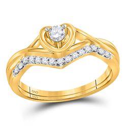 Round Diamond Heart Bridal Wedding Ring Band Set 1/4 Cttw 10kt Yellow Gold - REF-27F9W