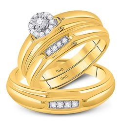 His Hers Round Diamond Solitaire Matching Wedding Set 1/6 Cttw 10kt Yellow Gold - REF-27H9R