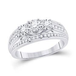 Round Diamond 3-stone Bridal Wedding Engagement Ring 1/2 Cttw 10kt White Gold - REF-43X9A