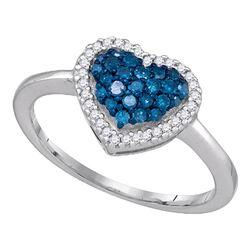 Womens Blue Color Enhanced Diamond Heart Cluster Anniversary Ring 1/3 Cttw 10k White Gold - REF-16W5