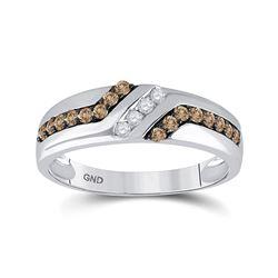 Mens Round Brown Diamond Wedding Band Ring 1/3 Cttw 10kt White Gold - REF-27K9Y