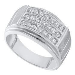 Mens Round Diamond Triple Row Band Ring 1/2 Cttw 10kt White Gold - REF-36N5F
