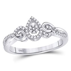 Womens Round Diamond Teardrop Curl Cluster Ring 1/10 Cttw 10kt White Gold - REF-14A9M