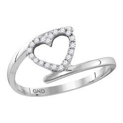 Womens Round Diamond Held Heart Ring 1/8 Cttw 10kt White Gold - REF-12N5F