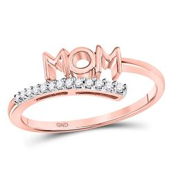 Womens Round Diamond Mom Mother Bypass Band Ring 1/12 Cttw 10kt Rose Gold - REF-10A9M