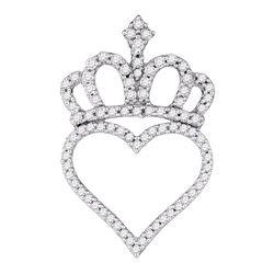 Womens Round Diamond Crown Heart Pendant 1/3 Cttw 10kt White Gold - REF-16X9A