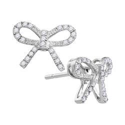 Womens Round Diamond Ribbon Bow Fashion Earrings 1/5 Cttw 10kt White Gold - REF-16X9A