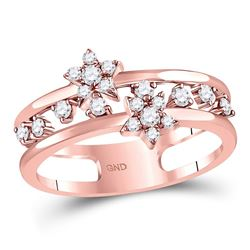 Womens Round Diamond Open Double Star Band Ring 1/3 Cttw 14kt Rose Gold - REF-36R9X