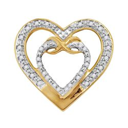 Womens Round Diamond Nested Double Heart Pendant 1/10 Cttw 10kt Yellow Gold - REF-8Y5N