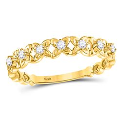 Womens Round Diamond Flower Petal Stackable Band Ring 1/6 Cttw 10kt Yellow Gold - REF-15A9M