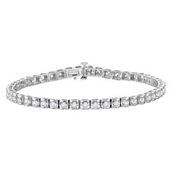 Womens Round Diamond Studded Tennis Bracelet 1-1/2 Cttw 14kt White Gold - REF-126W9K