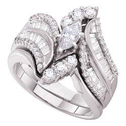 Marquise Diamond Bridal Wedding Ring Band Set 1-1/2 Cttw 14kt White Gold - REF-178R5X
