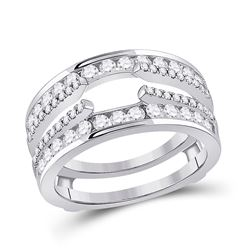 Womens Round Diamond Wedding Wrap Ring Guard Enhancer 1 Cttw 14kt White Gold - REF-82Y9N