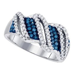 Womens Round Blue Color Enhanced Diamond Band Ring 1/2 Cttw 10kt White Gold - REF-37A5M