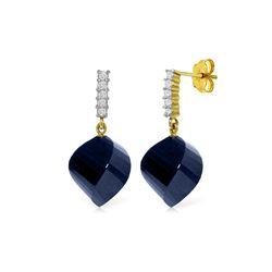 Genuine 30.65 ctw Sapphire & Diamond Earrings 14KT Yellow Gold - REF-59M9T