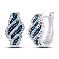 Womens Round Blue Color Enhanced Diamond Spiral Stripe Hoop Earrings 1/3 Cttw 10kt White Gold - REF-