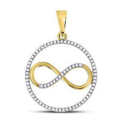 Womens Round Diamond Circle Infinity Pendant 1/3 Cttw 10kt Yellow Gold - REF-16M9H