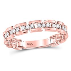 Womens Round Diamond Rolo Link Stackable Band Ring 1/5 Cttw 10kt Rose Gold - REF-16A5M