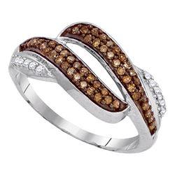 Womens Round Brown Diamond Band Ring 1/3 Cttw 10kt White Gold - REF-16R9X