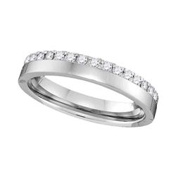 Womens Machine-Set Round Diamond Wedding Band 1/4 Cttw 14kt White Gold - REF-32X5A