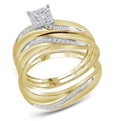 His Hers Round Diamond Cluster Matching Wedding Set 1/5 Cttw 10kt Yellow Gold - REF-34F5W