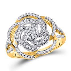 Womens Round Diamond Pinwheel Cluster Fashion Ring 1/3 Cttw 10kt Yellow Gold - REF-32K5Y