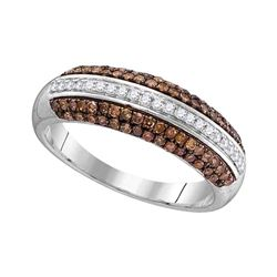 Womens Round Brown Diamond Horizontal Stripe Band 1/2 Cttw 10kt White Gold - REF-21Y5N