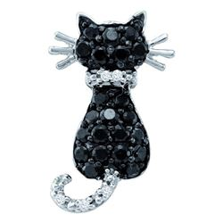 Womens Round Black Color Enhanced Diamond Cat Pendant 1/3 Cttw 14kt White Gold - REF-14M9H