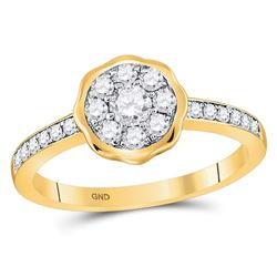 Womens Round Diamond Flower Cluster Ring 1/2 Cttw 14kt Yellow Gold - REF-38A9M