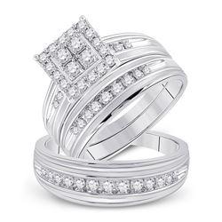 His Hers Round Diamond Square Matching Wedding Set 1 Cttw 14kt White Gold - REF-101W5K