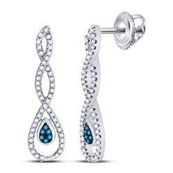 Womens Round Blue Color Enhanced Diamond Dangle Earrings 1/4 Cttw 10kt White Gold - REF-19K5Y