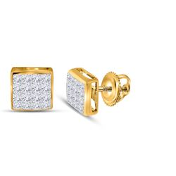 Womens Princess Diamond Square Cluster Stud Earrings 3/8 Cttw 14kt Yellow Gold - REF-21M5H