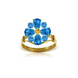 Genuine 2.43 ctw Blue Topaz Ring 14KT Yellow Gold - REF-48X3M