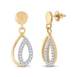 Womens Round Diamond Dangle Earrings 1/10 Cttw 10kt Yellow Gold - REF-10H5R