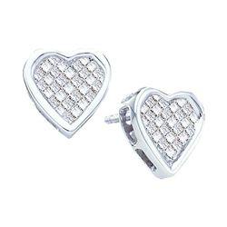 Womens Princess Diamond Cluster Heart Stud Earrings 1/2 Cttw 14kt White Gold - REF-38A9M