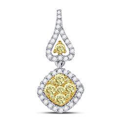 Womens Round Yellow Diamond Diagonal Square Cluster Pendant 3/4 Cttw 14kt White Gold - REF-52F9W