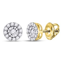 Womens Round Diamond Halo Earrings 1/4 Cttw 14kt Yellow Gold - REF-19X5A