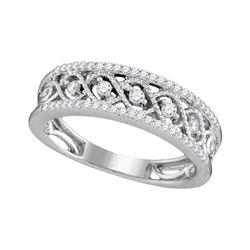 Womens Round Diamond Band Ring 1/4 Cttw 10kt White Gold - REF-21H5R