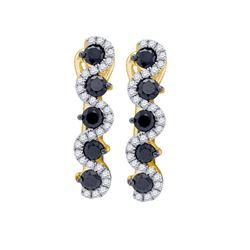 Womens Round Black Color Enhanced Diamond Hoop Earrings 1 Cttw 10kt Yellow Gold - REF-41N5F