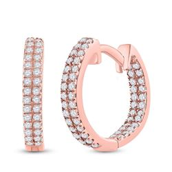 Womens Round Diamond Hoop Earrings 1/5 Cttw 10kt Rose Gold - REF-13R9X