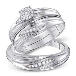 His Hers Round Diamond Cluster Matching Wedding Set 1/5 Cttw 10kt White Gold - REF-32A5M