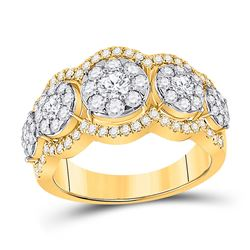 Womens Round Diamond 5-Stone Anniversary Band Ring 1-1/2 Cttw 14kt Yellow Gold - REF-125A9M