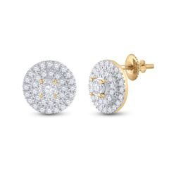 Womens Round Diamond Circle Earrings 1/4 Cttw 10kt Yellow Gold - REF-19R5X