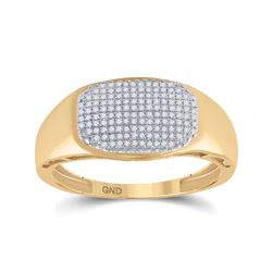 Mens Round Diamond Cluster Ring 1/4 Cttw 10kt Yellow Gold - REF-26X5A